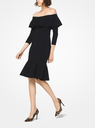 Michael Kors Stretch-Viscose Off-The-Shoulder Dress