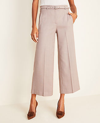 Ann Taylor The Petite Belted Wide Leg Marina Pant in Glen Plaid