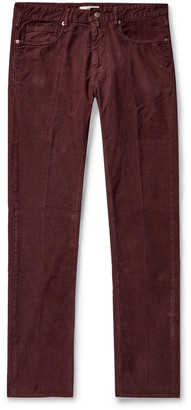Incotex Slim-Fit Stretch Cotton-Corduroy Trousers - Men - Burgundy