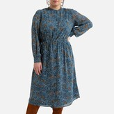 Thumbnail for your product : La Redoute Collections Plus Recycled Midi Shirt Dress in Floral Print with Long Sleeves
