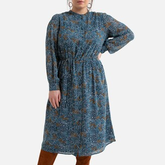 La Redoute Collections Plus Recycled Midi Shirt Dress in Floral Print with Long Sleeves