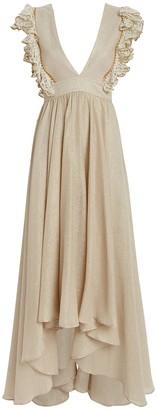 My Beachy Side Firel Ruffled Metallic Cotton Dress