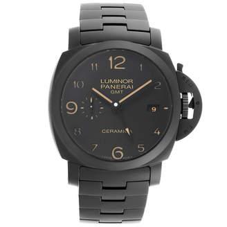 Panerai Black Matte Ceramic Luminor 1950 Tuttonero GMT PAM00438 Men's Wristwatch 44 MM