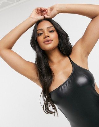 Candypants wet look one shoulder high leg swimsuit in black