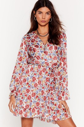 Nasty Gal Womens Best in Bloom Floral Ruffle Dress - White