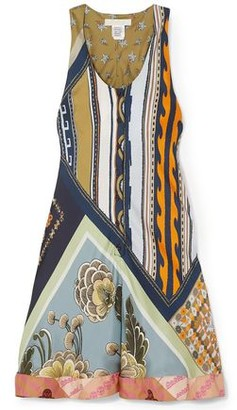 Chloé Patchwork-effect Printed Silk-twill Mini Dress