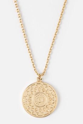 Orelia Engraved Coin Pendant Necklace
