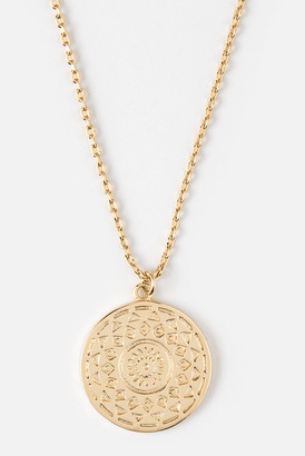 Orelia Engraved Coin Pendant Necklace