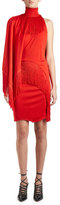 Givenchy Fringed Mock-Neck Dress w/Cape, Red