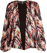 Giambattista Valli Daisy-print lace-panelled silk blouse