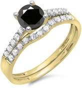 DazzlingRock Collection 1.25 Carat (ctw) 14K Yellow Gold White & Diamond Bridal Engagement Ring Set 1 1/4 CT (Size 7)