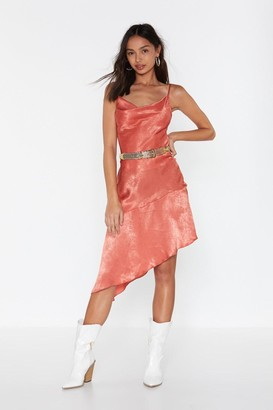 Nasty Gal Womens Baby Love Satin Cowl Dress - orange - 6