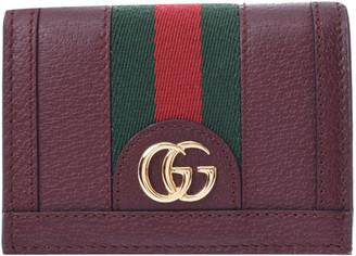 Gucci Bordeaux Ophidia Leather Card Case Wallet