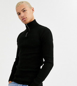 ASOS DESIGN Tall muscle fit ribbed half zip jumper in black