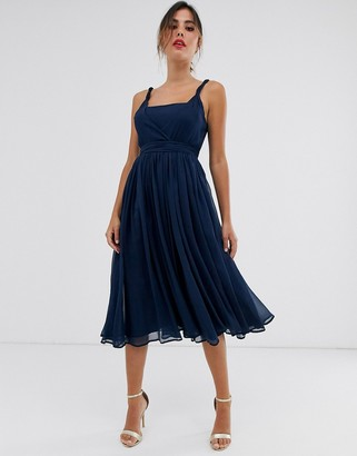 Asos Design DESIGN soft chiffon square neck midi prom dress with twist strap-Navy