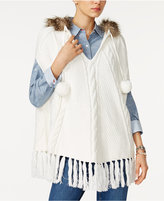 Tommy Hilfiger Ingrid Faux-Fur-Trim Hooded Poncho, Only at Macy's