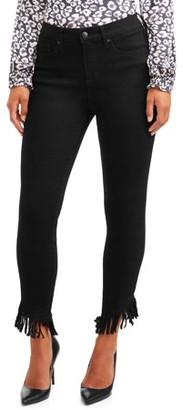 Sofia Jeans By Sofia Vergara Sofia Jeans Rosa Curvy High Waist Fringed Hem Ankle Jean Women's (Black)