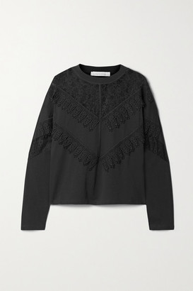 See by Chloe Lace-paneled Cotton-jersey Top - Black