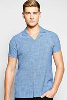 Boohoo Linen Look Revere Collar Shirt