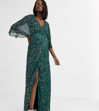 Maya Maternity Bridesmaid delicate sequin wrap maxi dress in green