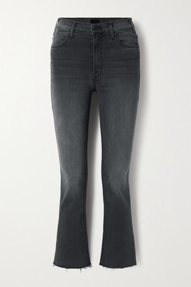 Mother The Hustler Cropped Frayed High-rise Flared Jeans - Dark gray