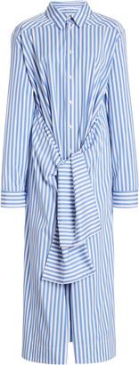 Jil Sander Draped Tie-Front Cotton Shirt Dress