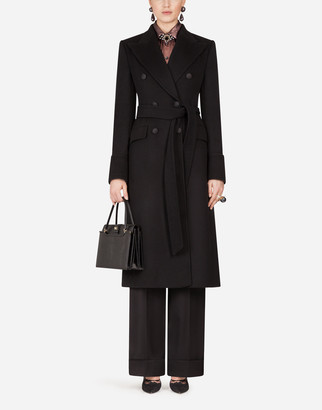 Dolce & Gabbana Double-Breasted Woolen Cloth Belted Coat