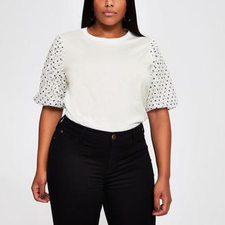 River Island Womens Plus White spot lace puffball t-shirt