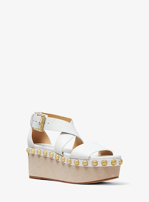 MICHAEL Michael Kors MK Garner Studded Leather Flatform - Optic White - Michael Kors
