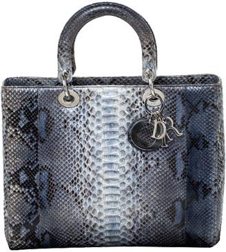 Christian Dior Blue/Grey Python Large Lady Tote
