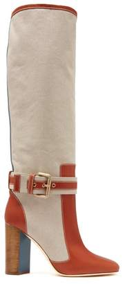 Malone Souliers X Roksanda Berenice Canvas Boots - Womens - Tan Multi