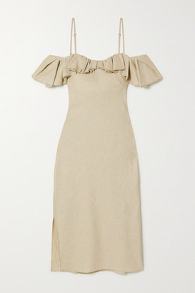 Jacquemus Pampelonne Cold-shoulder Ruffled Cotton And Linen-blend Midi Dress - Green