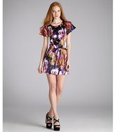 abstract printed silk draped waist dress