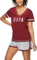 U.S. Polo Assn. Women's Sleep Bottoms dpred - Deep Red Logo Pajama Set - Women
