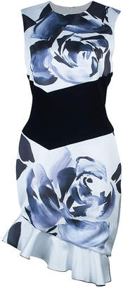 Prabal Gurung Rose Print Asymmetric Sleeveless Dress M
