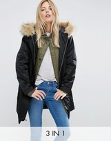 Asos 3 in 1 Parka with Rib Collar
