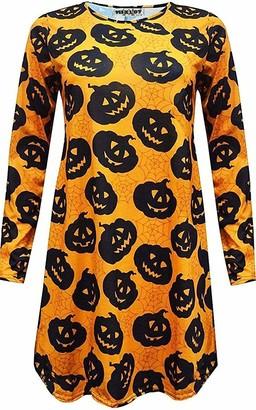 MIXLOT New Womens Ladies Sexy Halloween Printed Swing Dress Ladies Dress for Night & Dress Up Party Causal Wear Top Dress (Black Pumpkin 16-18)