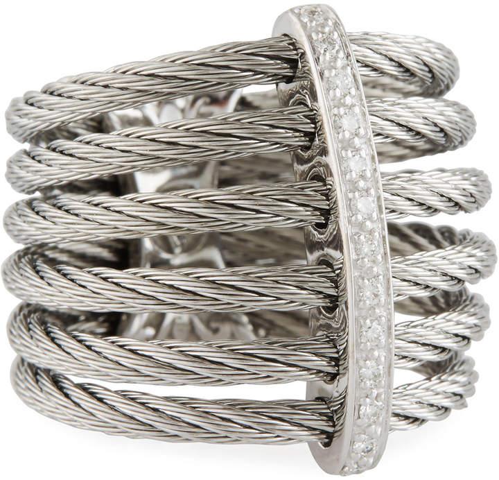 Alor Classique Multi-Row Micro-Cable Band Ring, Size 7, Silver