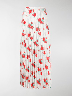 Vetements Floral Printed Pleated Skirt