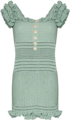 She Made Me Saachi off-the-shoulder crochet dress