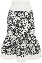 Carolina Herrera Floral Ruffled Hem Skirt