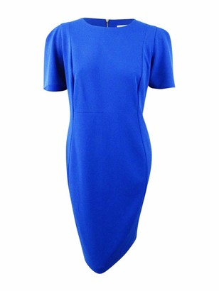 Calvin Klein Womens Blue Zippered Short Sleeve Jewel Neck Above The Knee Sheath Cocktail Dress Size: 6