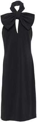 Badgley Mischka Bow-embellished Stretch-cady Halterneck Dress