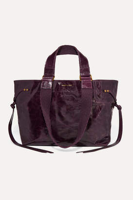 Isabel Marant Bagya Canvas-trimmed Glossed-leather Tote - Burgundy