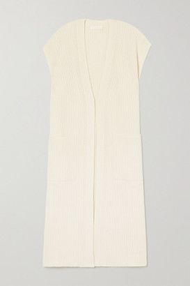 Chloé Ribbed Wool And Silk-blend Cardigan - White