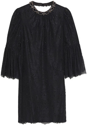 Jenny Packham Embellished Corded Lace Mini Dress