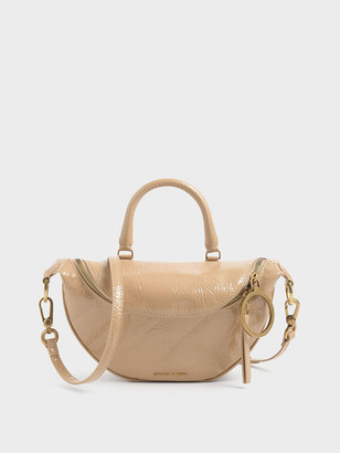 Charles & Keith Wrinkled Patent Semi-Circle Crossbody Bag