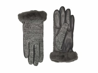 UGG Womens and Leather Shorty Gloves Winter Warm Fur Trim Faux Charcoal CHRC M