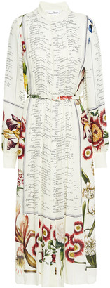 Oscar de la Renta Pleated Printed Silk-crepe Midi Dress