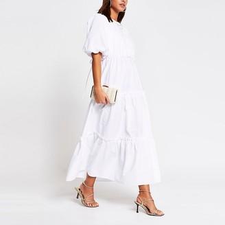 River Island White cross tie back midi smock dress